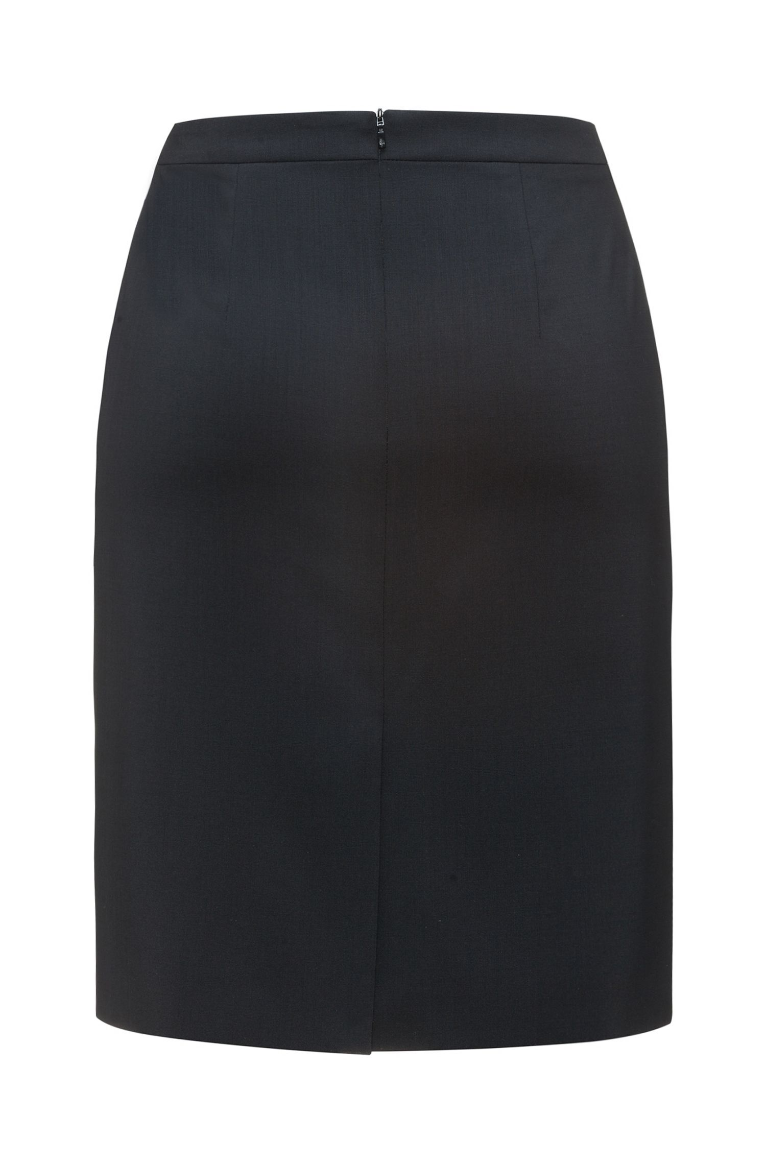 Regular-fit pencil skirt in virgin wool blend , Black