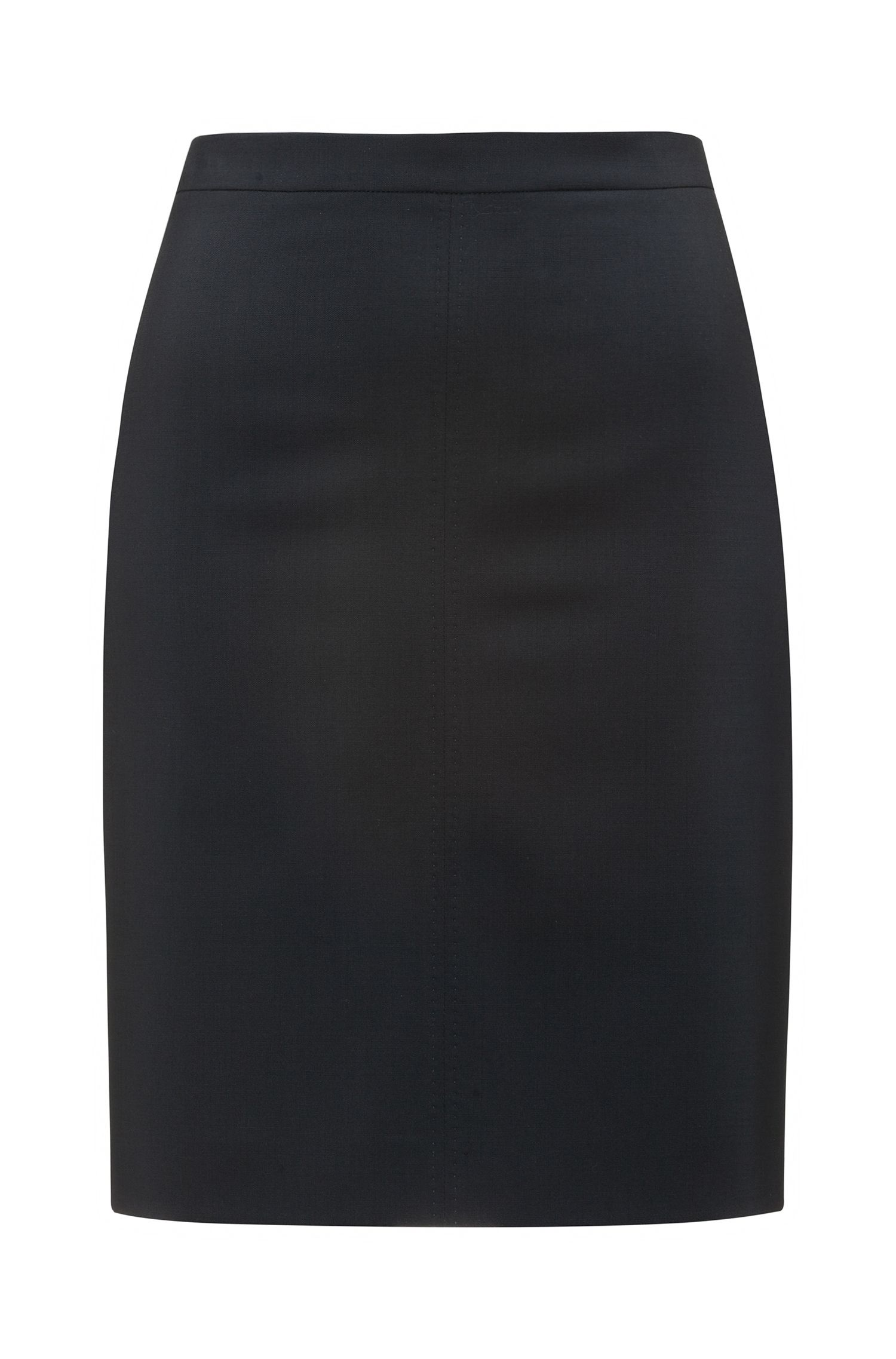 Regular-fit pencil skirt in virgin wool blend