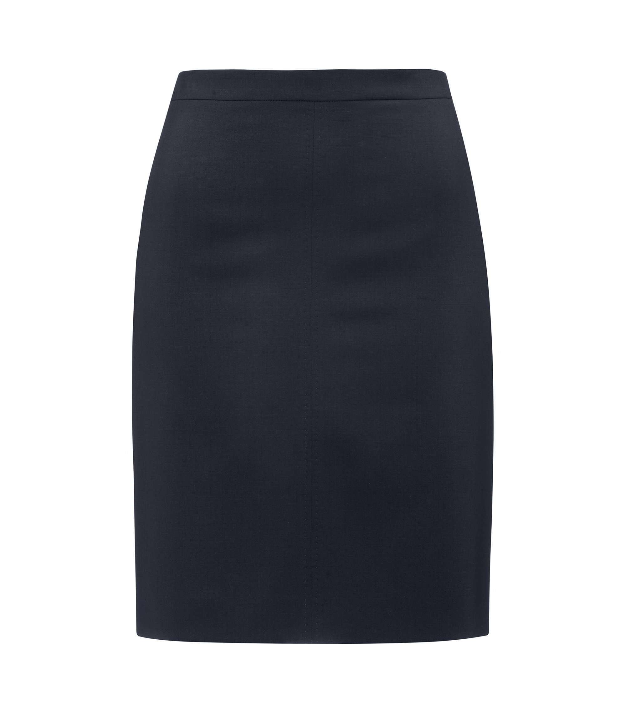 Regular-fit pencil skirt in virgin wool blend , Dark Blue