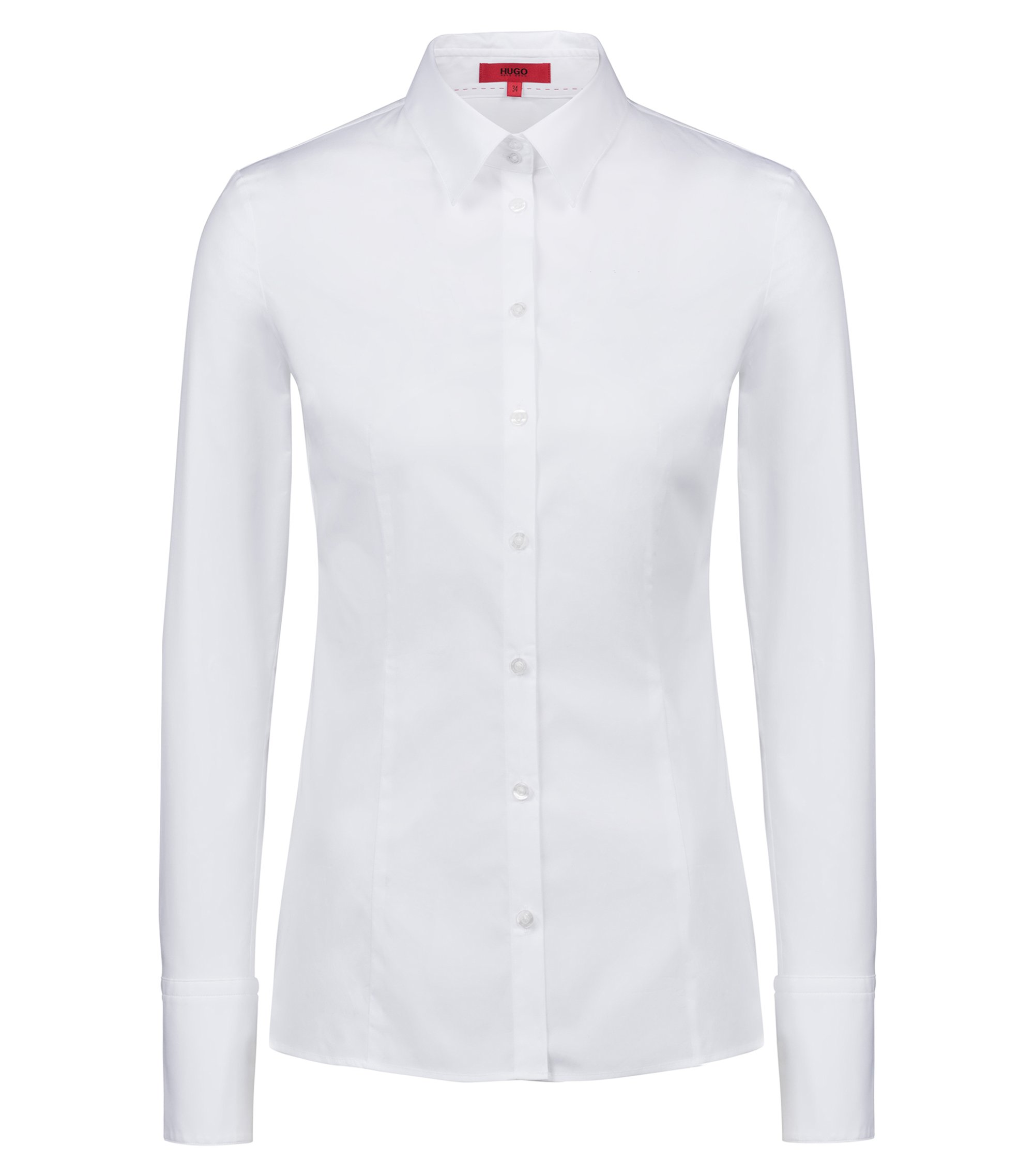Slim-fit blouse van stretchkatoen, Wit
