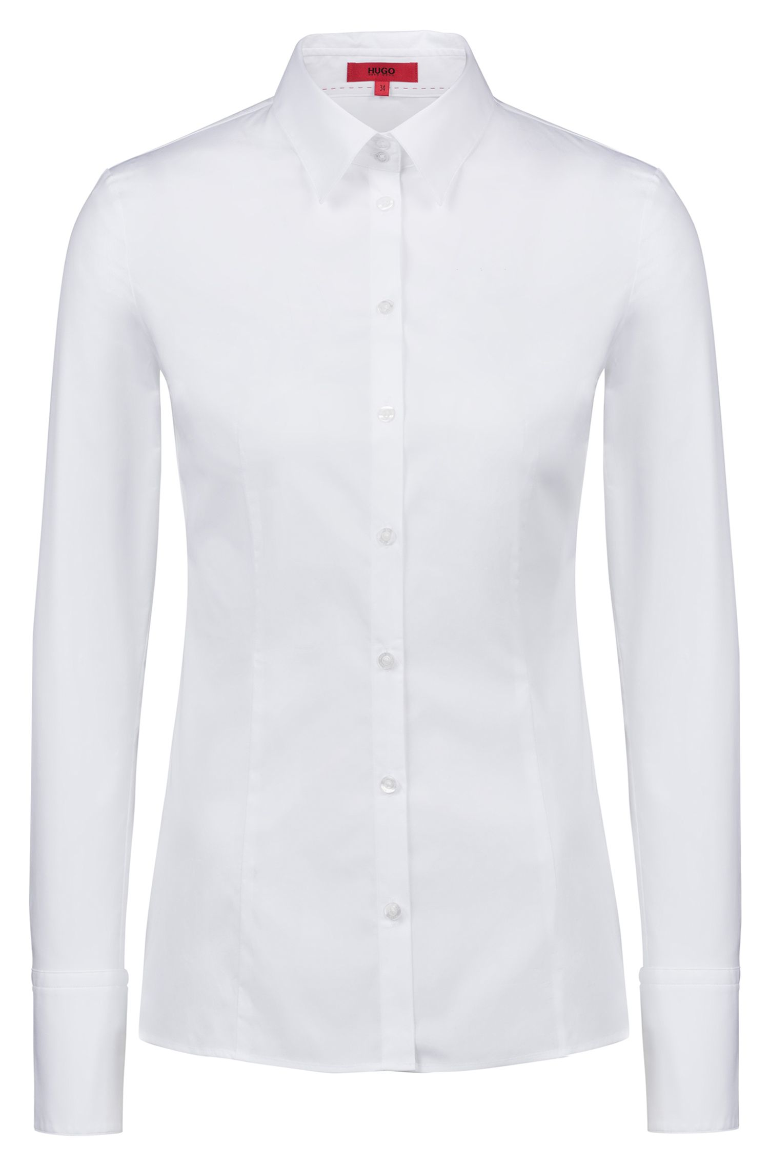 Slim-fit shirt in stretch cotton, White