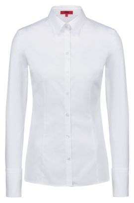 Slim-fit shirt in stretch cotton, Open White