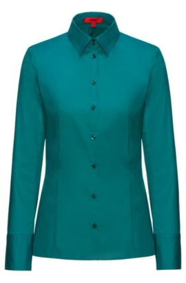 Slim-fit shirt in stretch cotton, Green