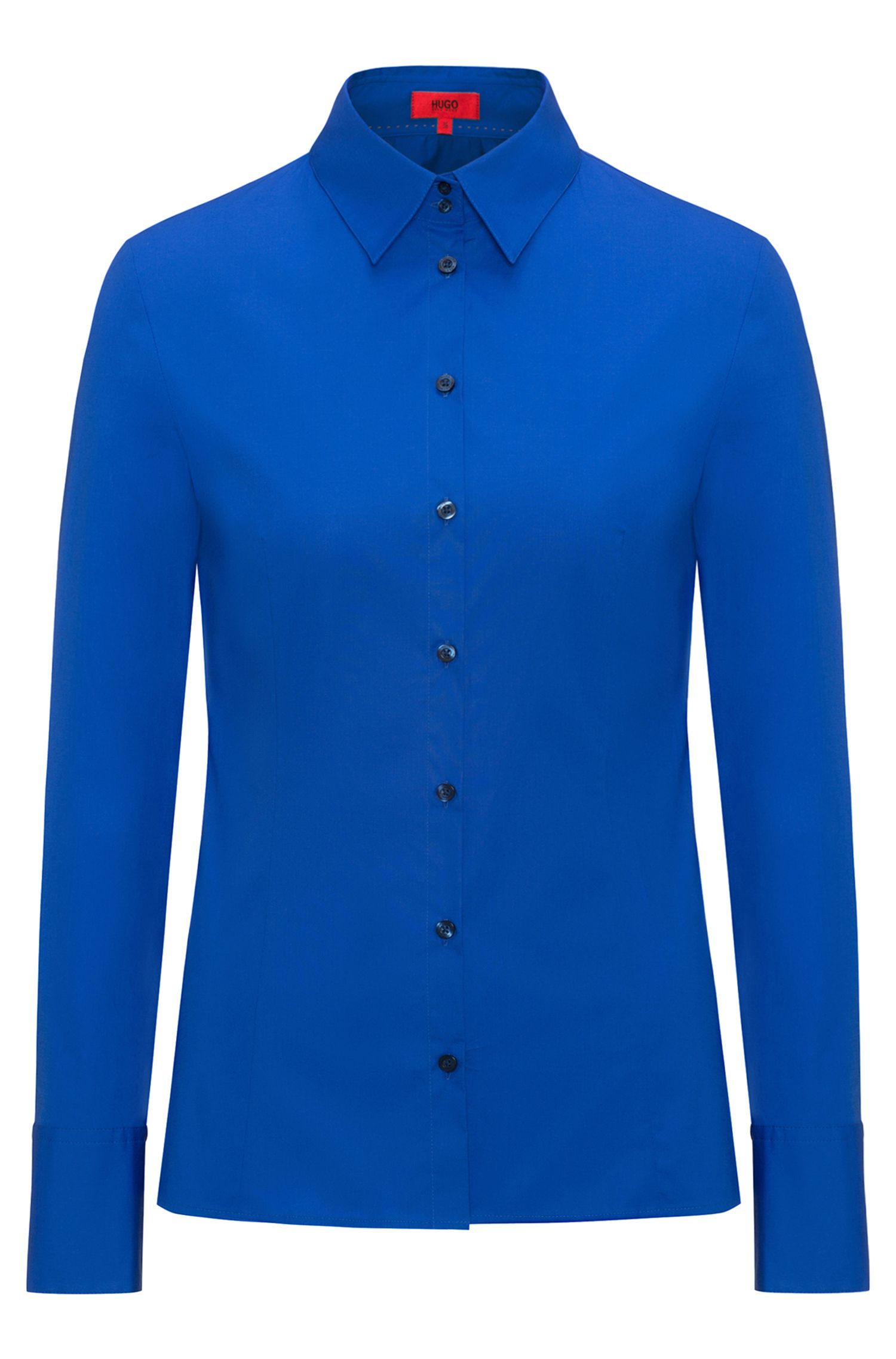 Slim-fit blouse van stretchkatoen