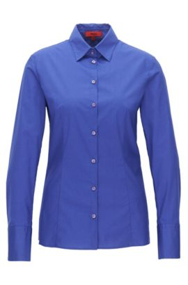 Slim-fit shirt in stretch cotton, Blue