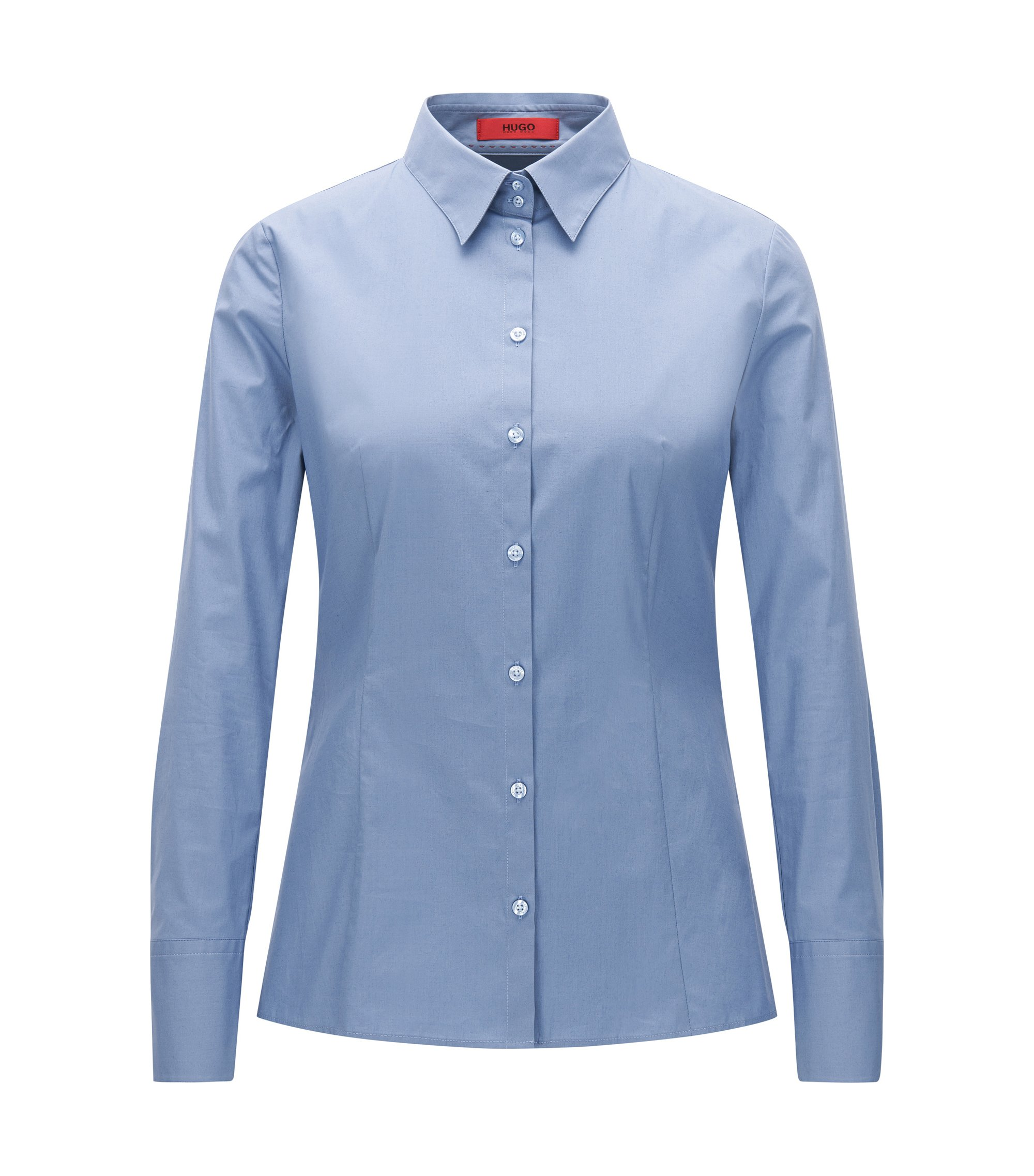 Slim-fit blouse van stretchkatoen, Blauw