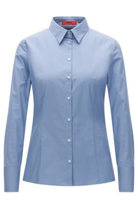 Slim-fit shirt in stretch cotton, Dark Blue