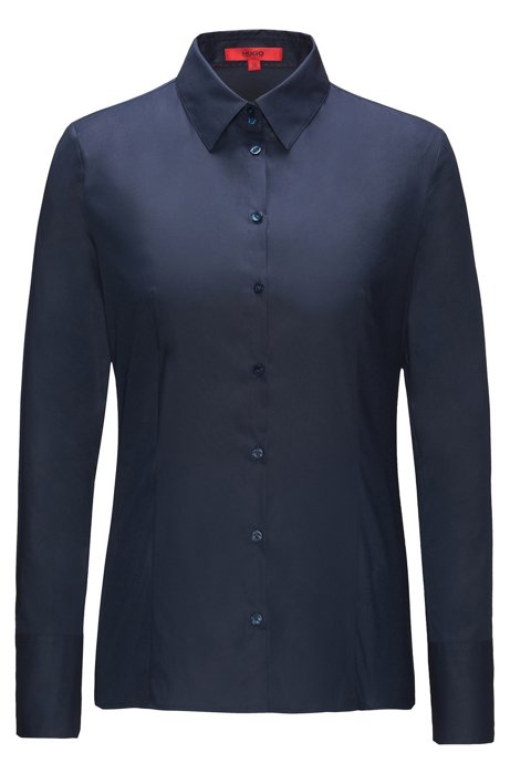 Slim-fit blouse van stretchkatoen, Donkerblauw