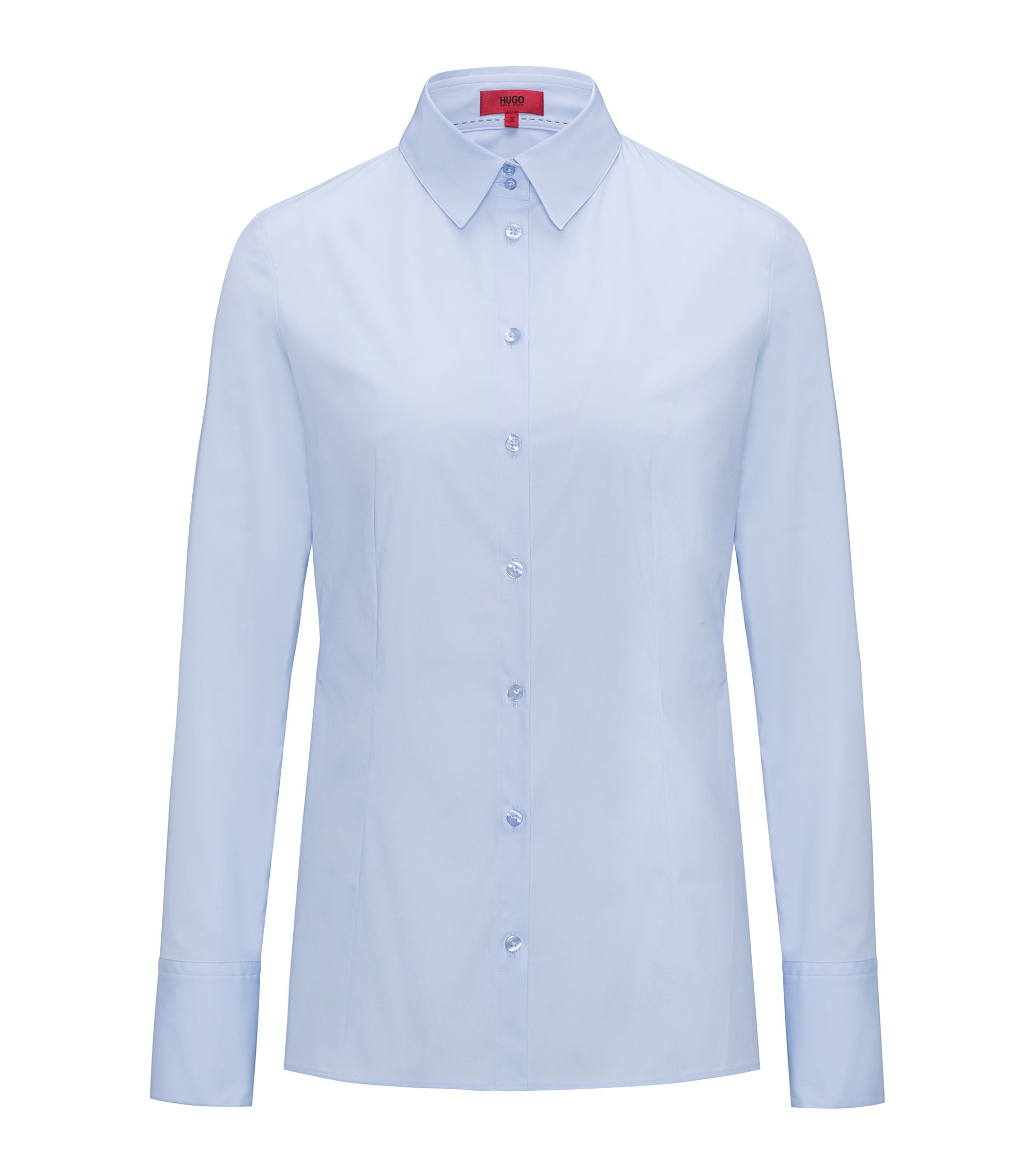 Slim-fit shirt in stretch cotton, Light Blue