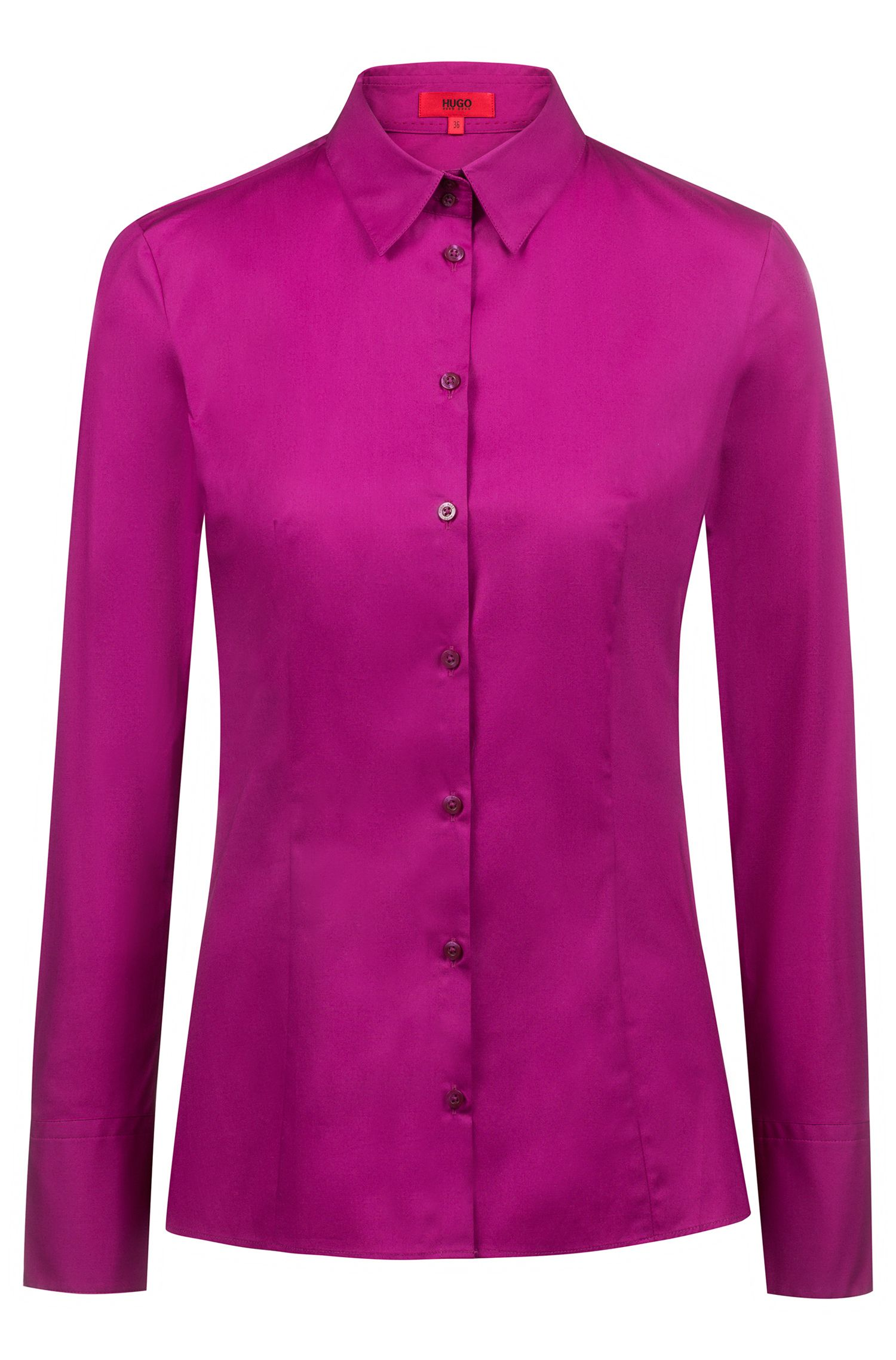 Slim-fit shirt in stretch cotton, Purple