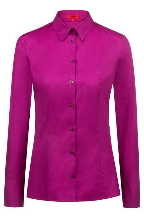 Slim-fit blouse van stretchkatoen, Lila