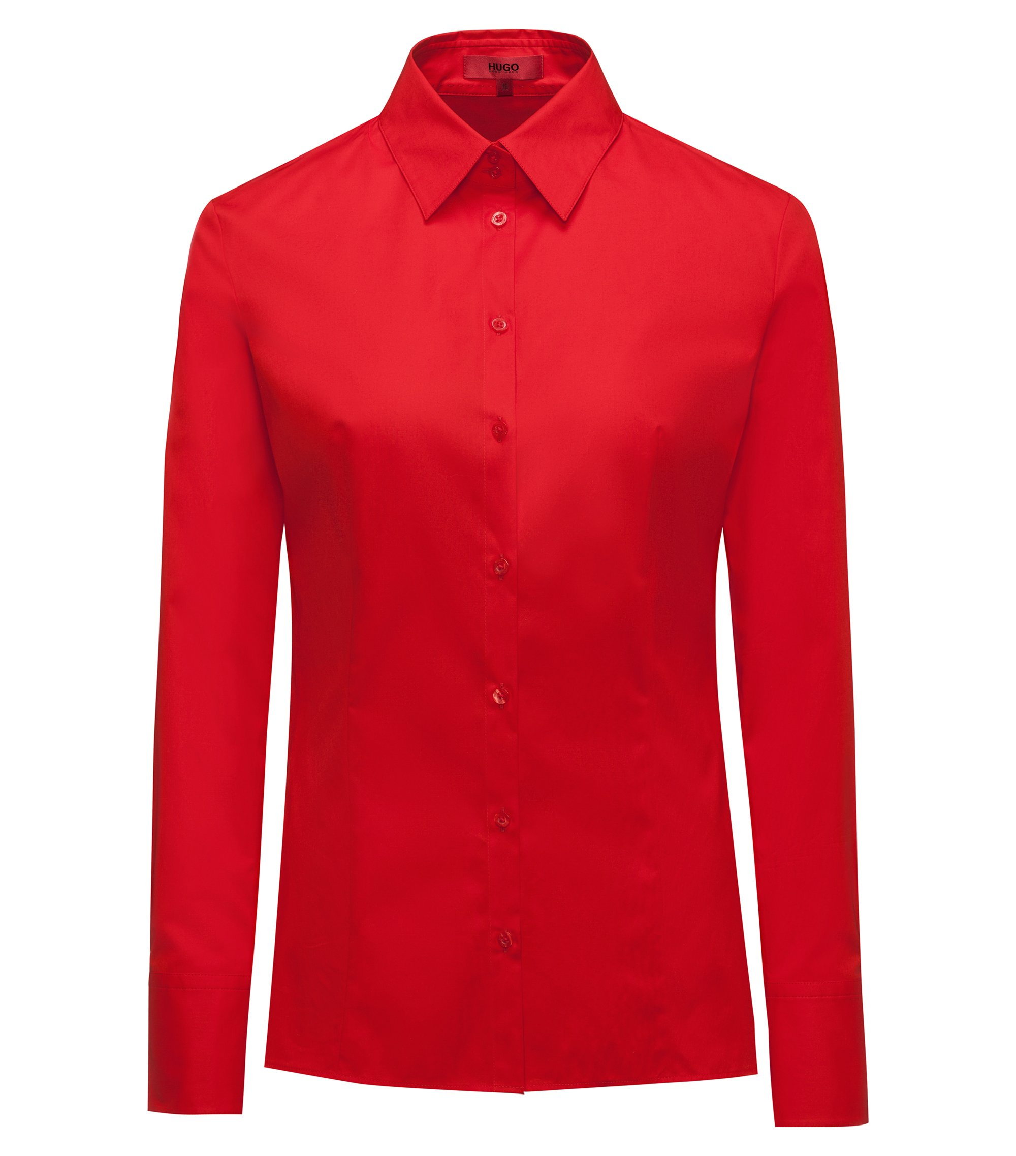Slim-fit blouse van stretchkatoen, Rood