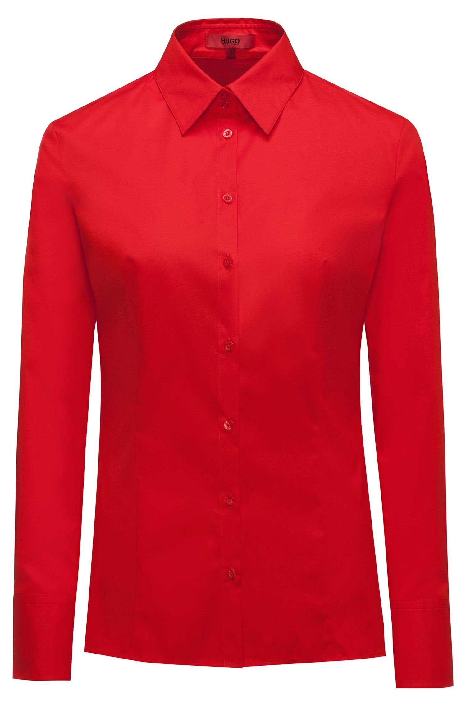 Slim-Fit Bluse aus Stretch-Baumwolle, Rot