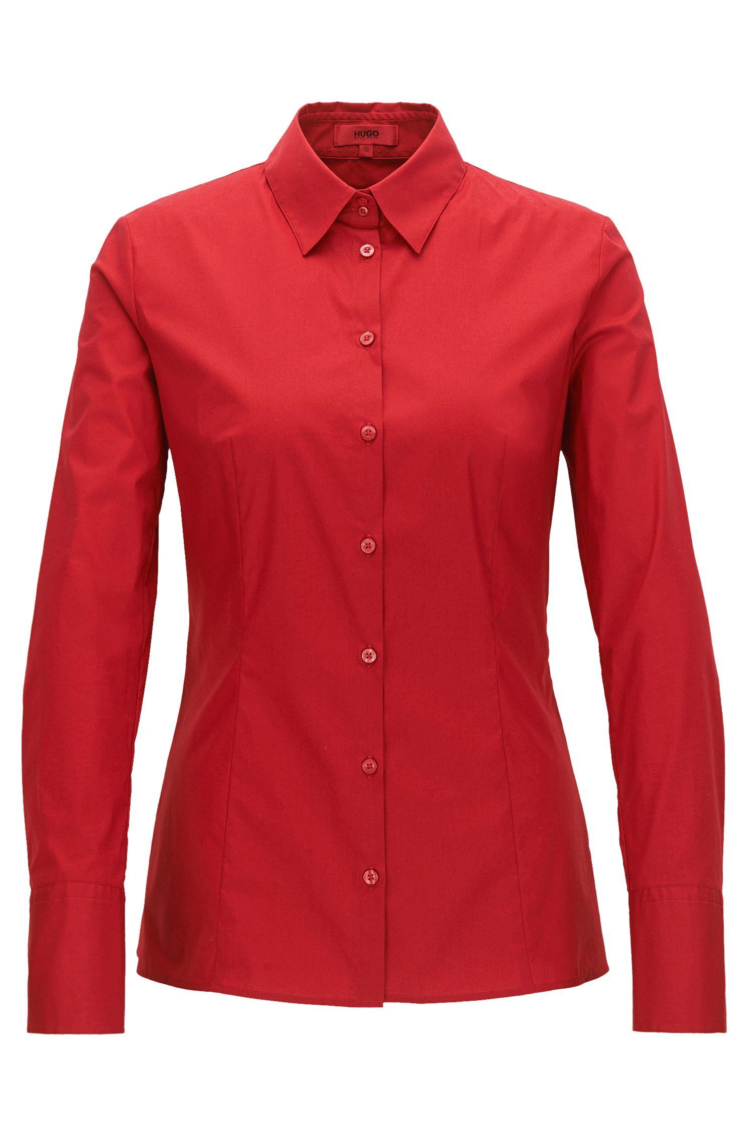 Slim-fit blouse van stretchkatoen