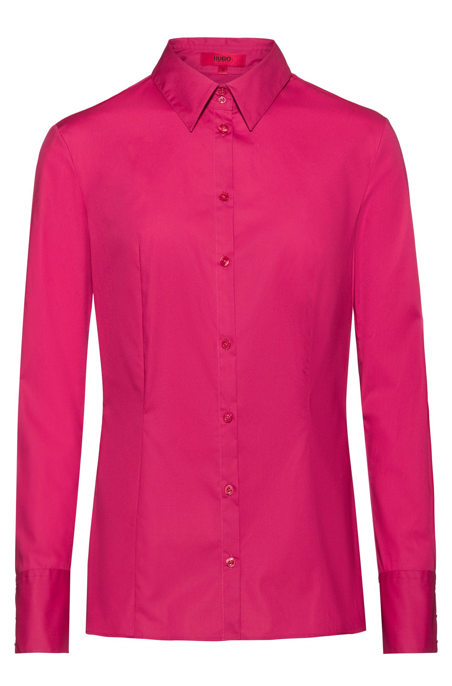 Slim-fit shirt in stretch cotton, Pink