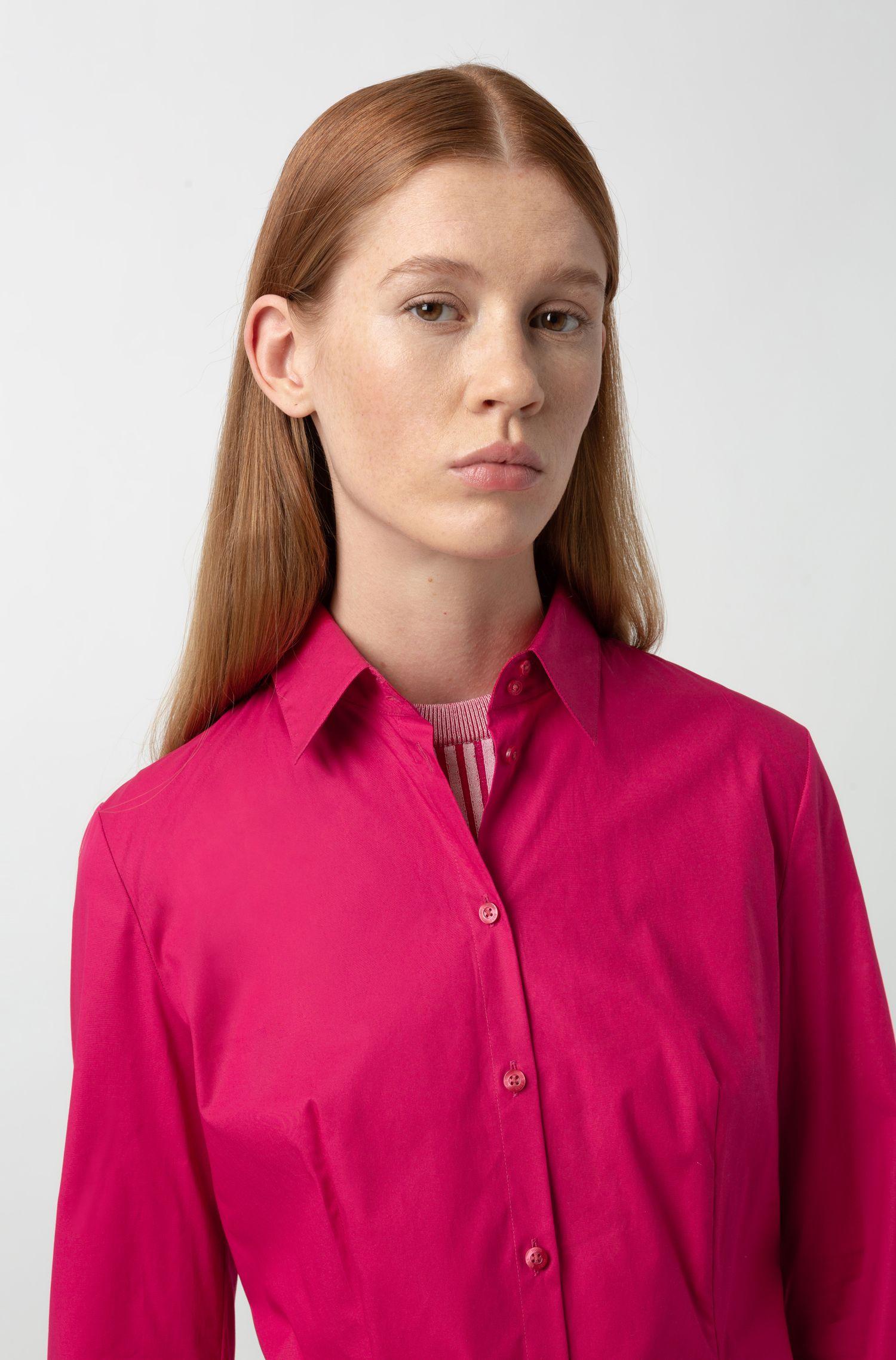 Slim-fit blouse van stretchkatoen, Pink