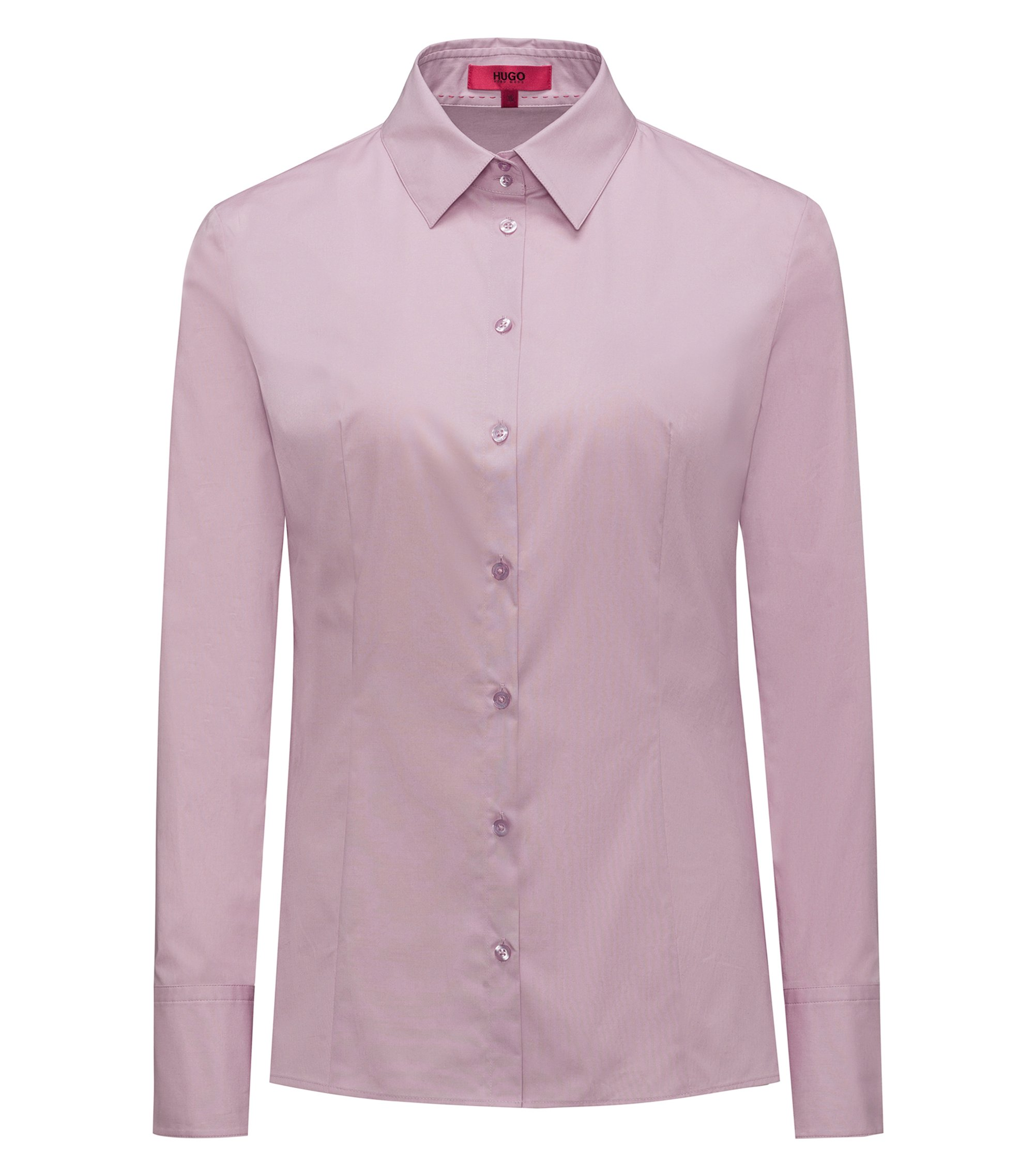 Slim-fit shirt in stretch cotton, Dark pink