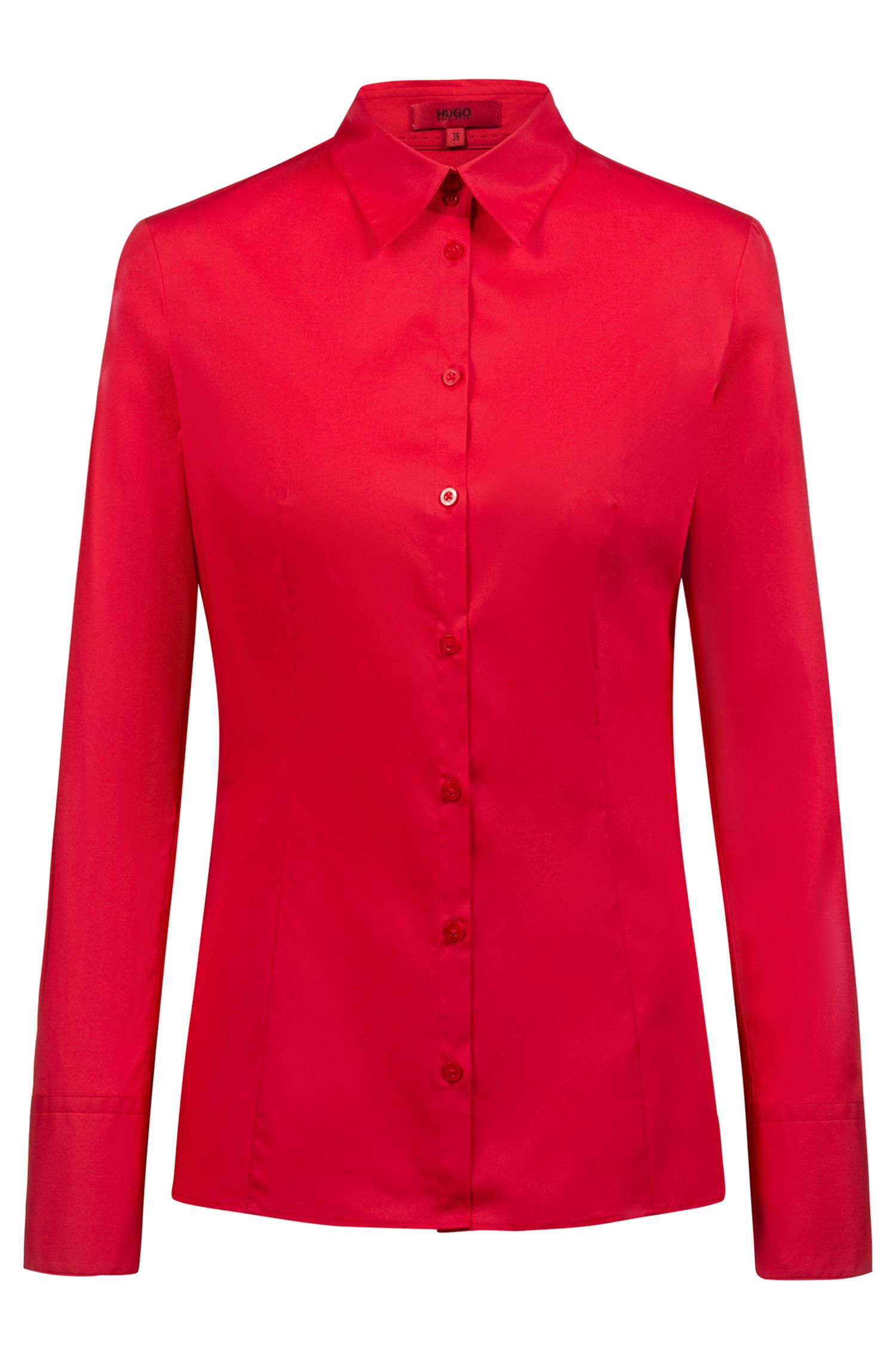 Slim-fit shirt in stretch cotton, Red