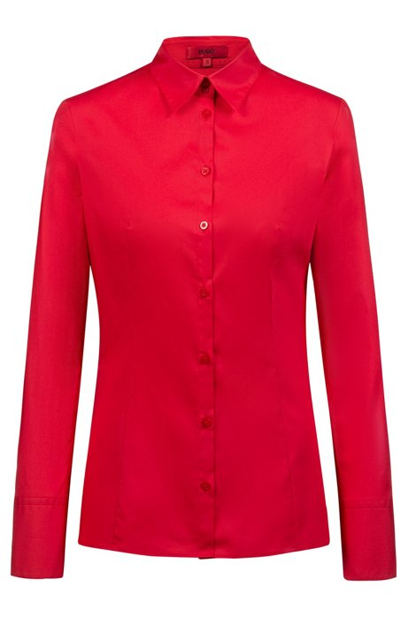 Slim-fit blouse van stretchkatoen, Rood
