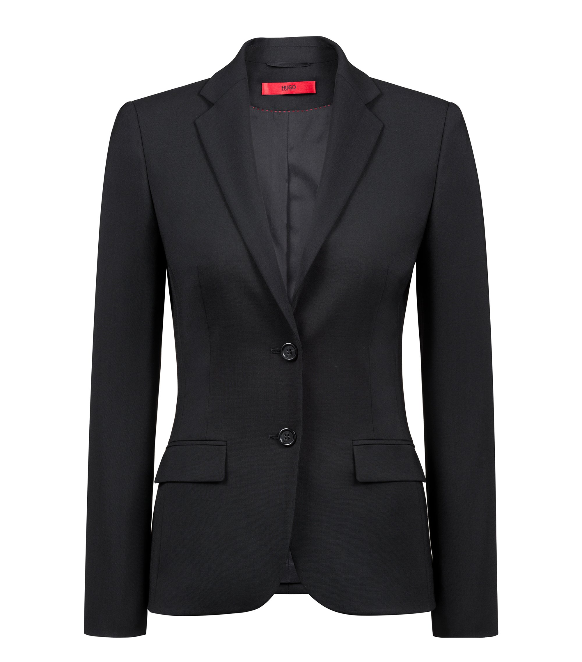 Blazer regular fit in lana vergine , Nero