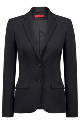 Blazer Regular Fit en laine vierge, Noir