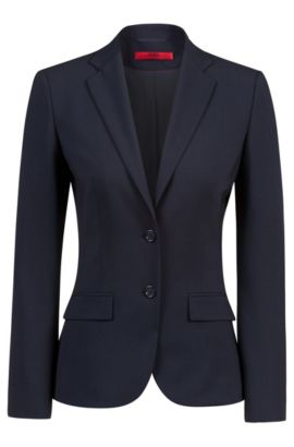 Regular-fit blazer in virgin wool by HUGO Woman, Dark Blue