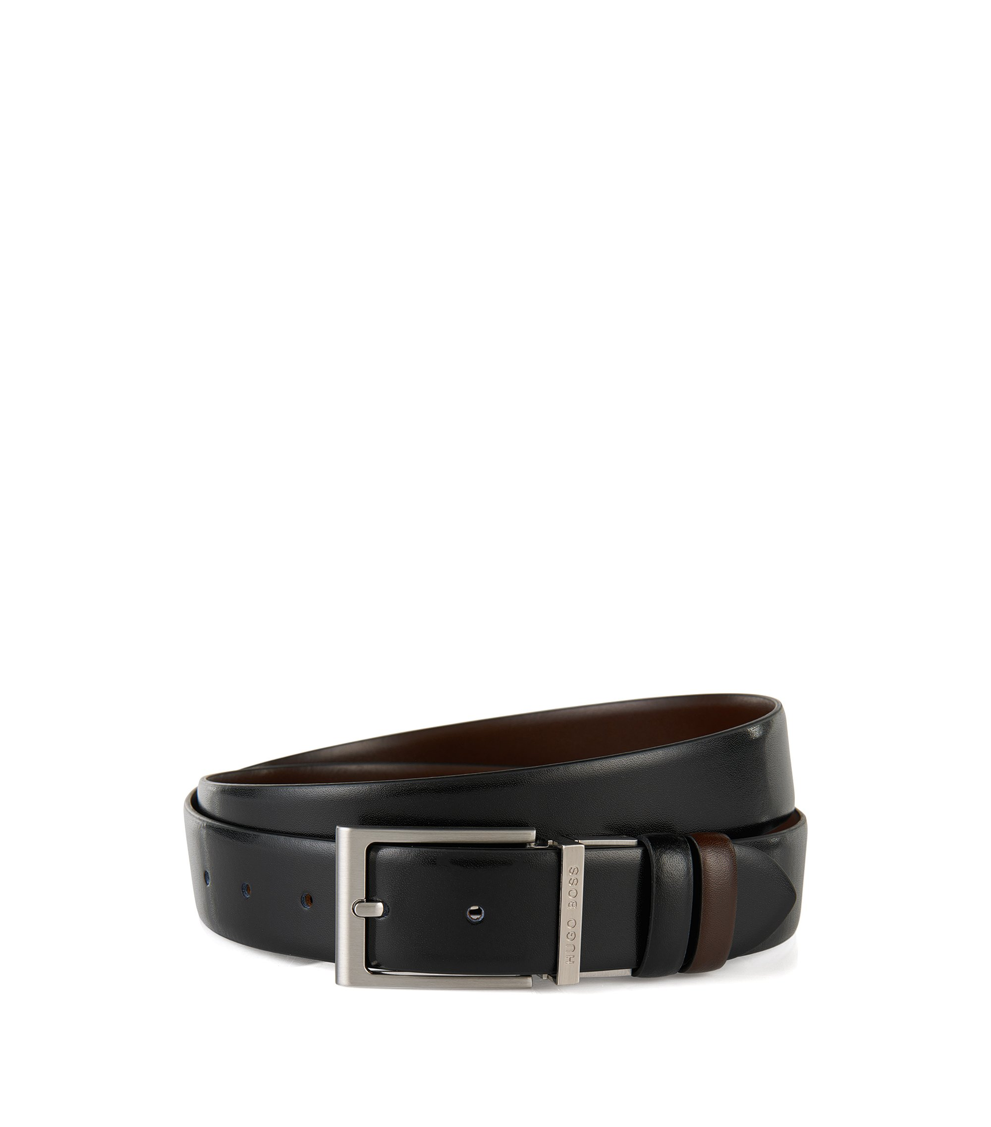 Reversible belt in smooth leather , Black