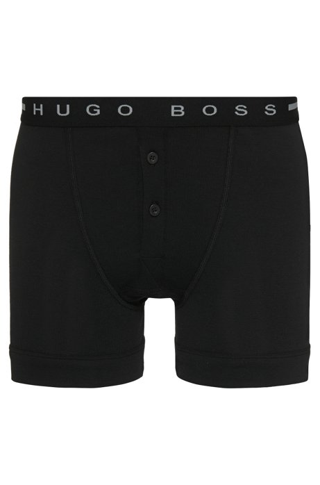 Button-front boxer shorts in cotton rib, Black