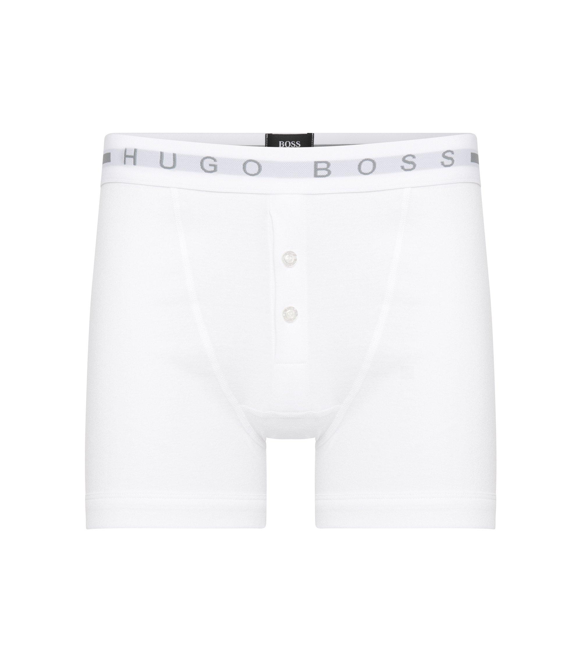 Gerippte Boxershorts aus Baumwolle mit Knöpfen, Weiß