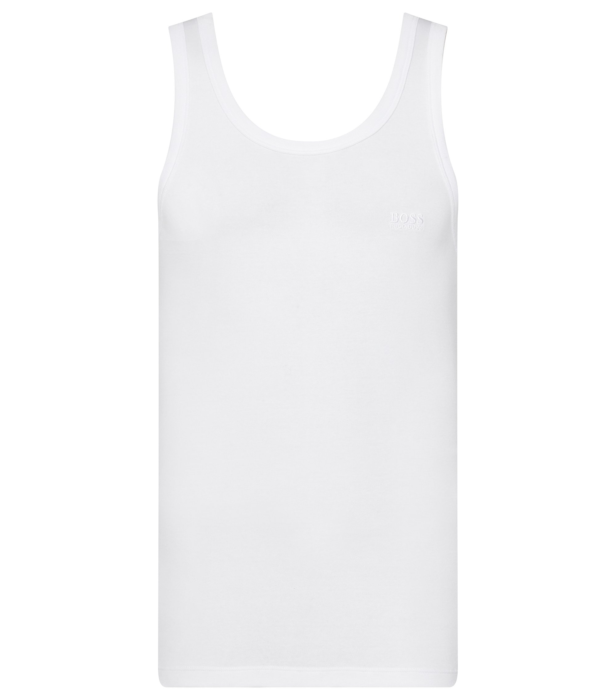 Regular-fit singlet van ribkatoen , Wit