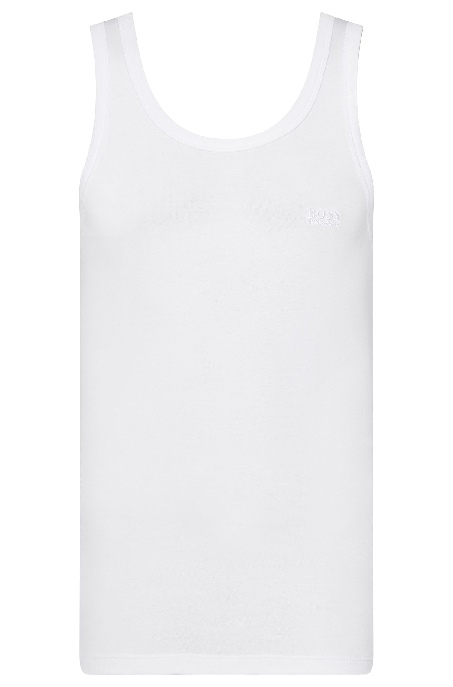 Regular-fit tank top in cotton rib , White