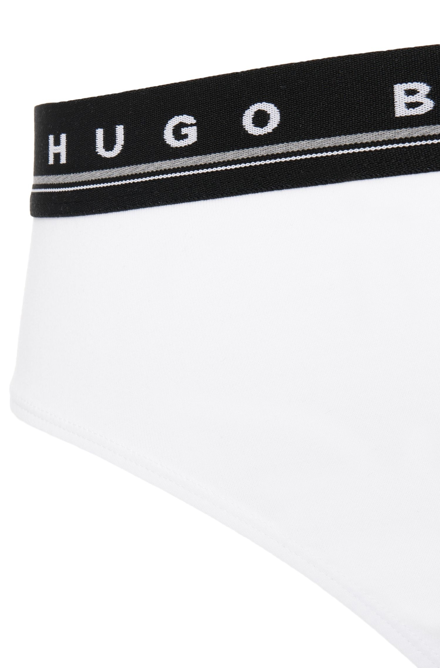 Logo-detail briefs in stretch cotton , White