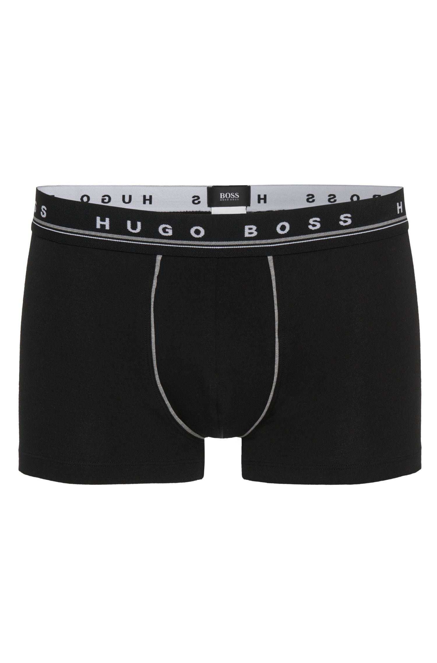 Regular-rise boxer shorts in stretch cotton , Black