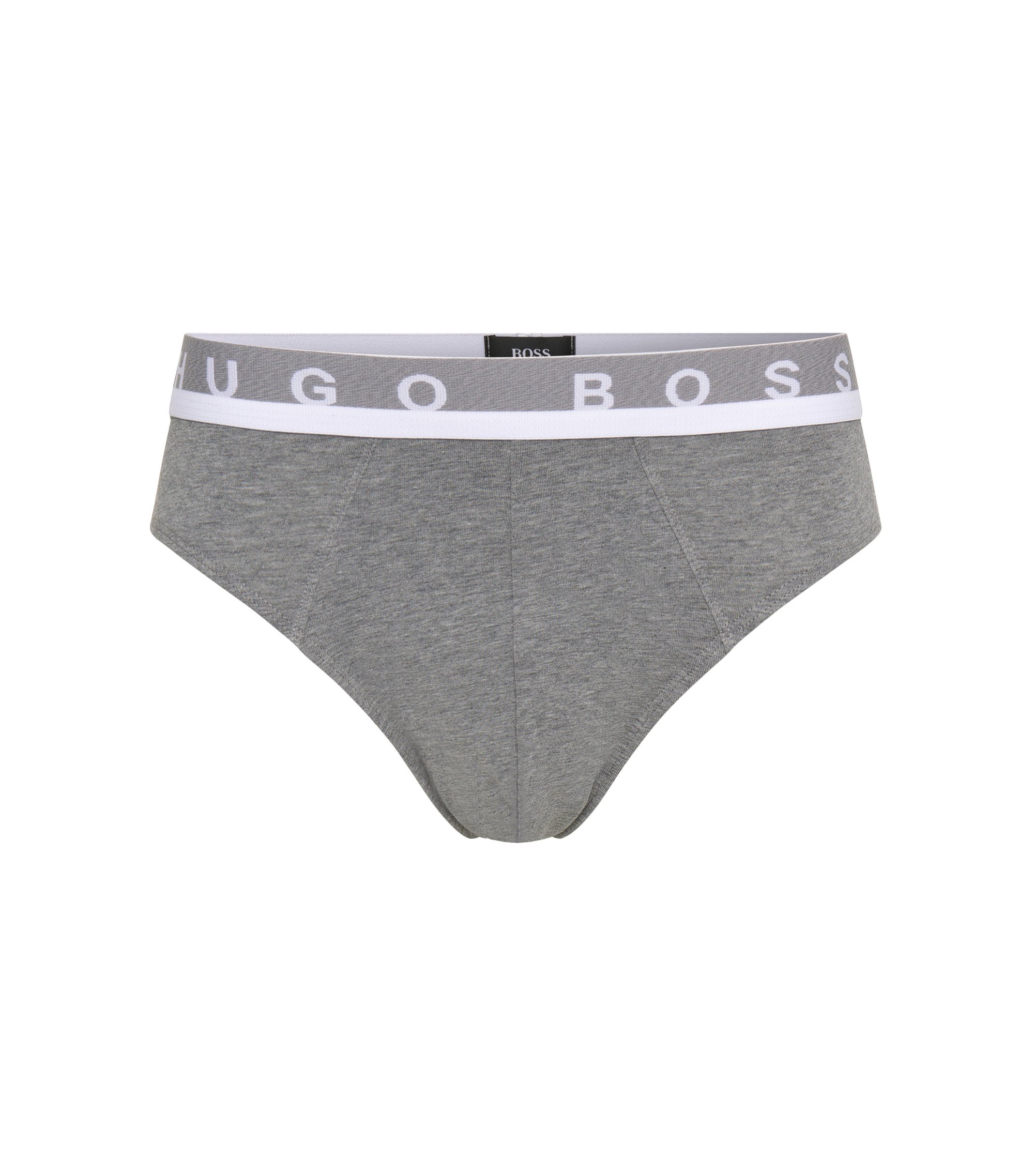 Logo-detail briefs in stretch cotton, Grey