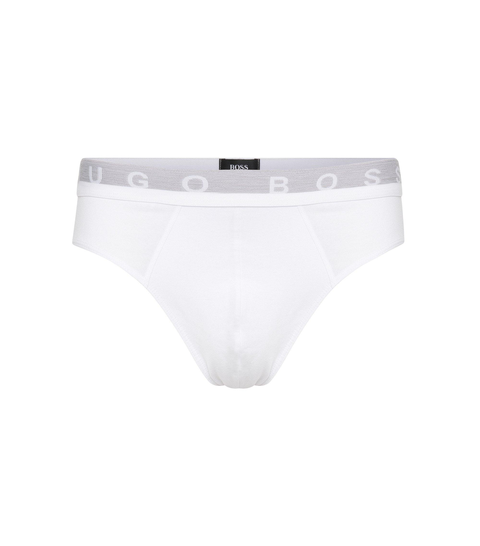 Calzoncillos cortos en algodón elástico con detalle de logo , Blanco