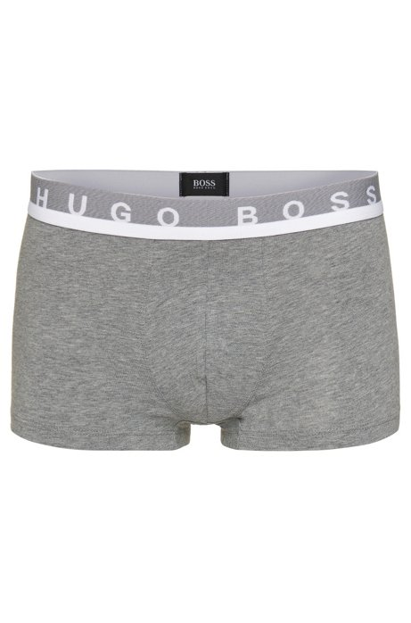 Regular-rise boxer shorts in stretch cotton , Grey