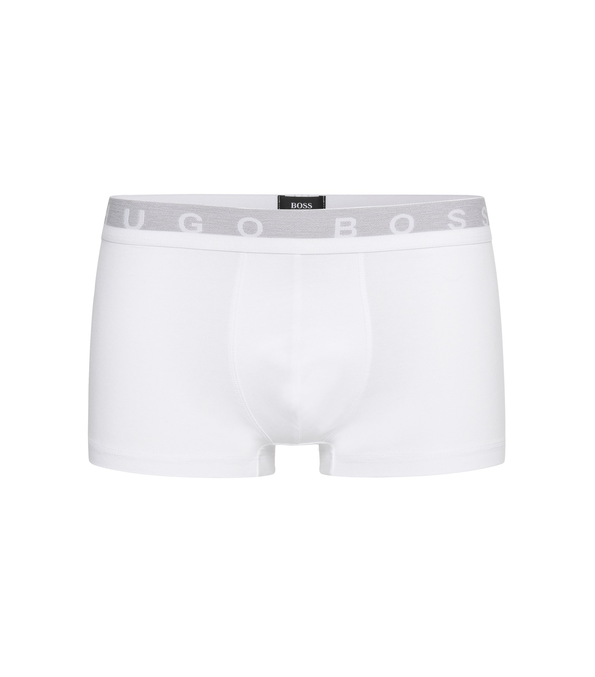 Regular-rise boxer shorts in stretch cotton , White