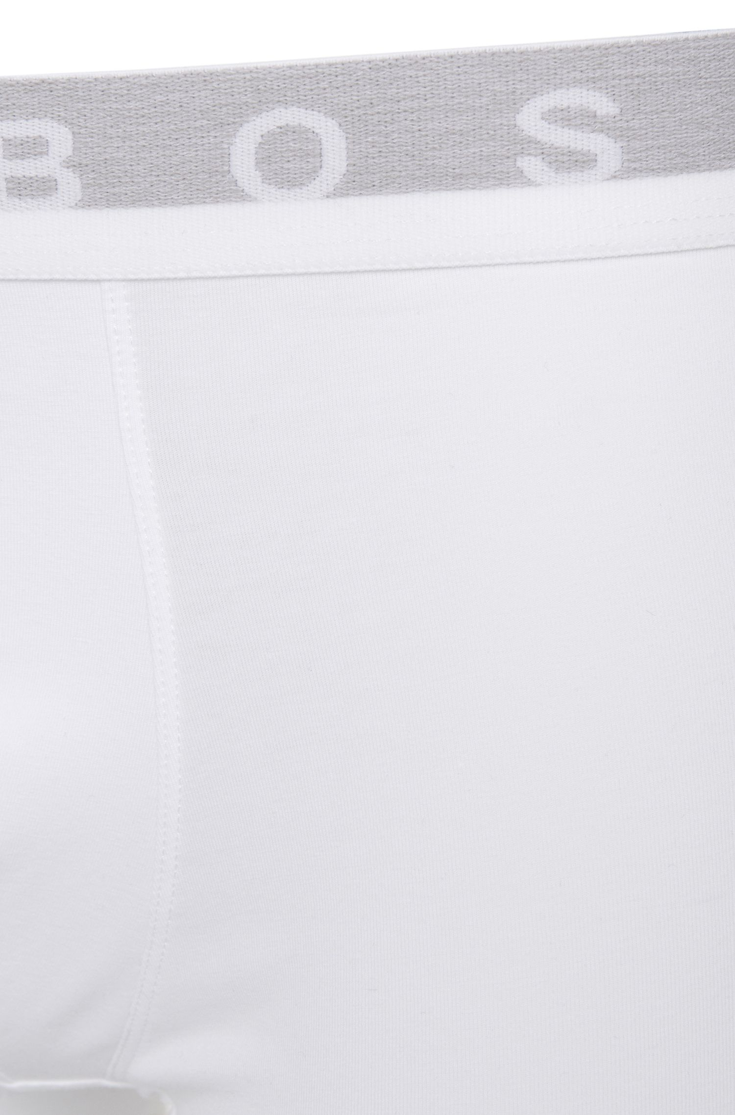 Boxers Regular Rise en coton stretch, Blanc