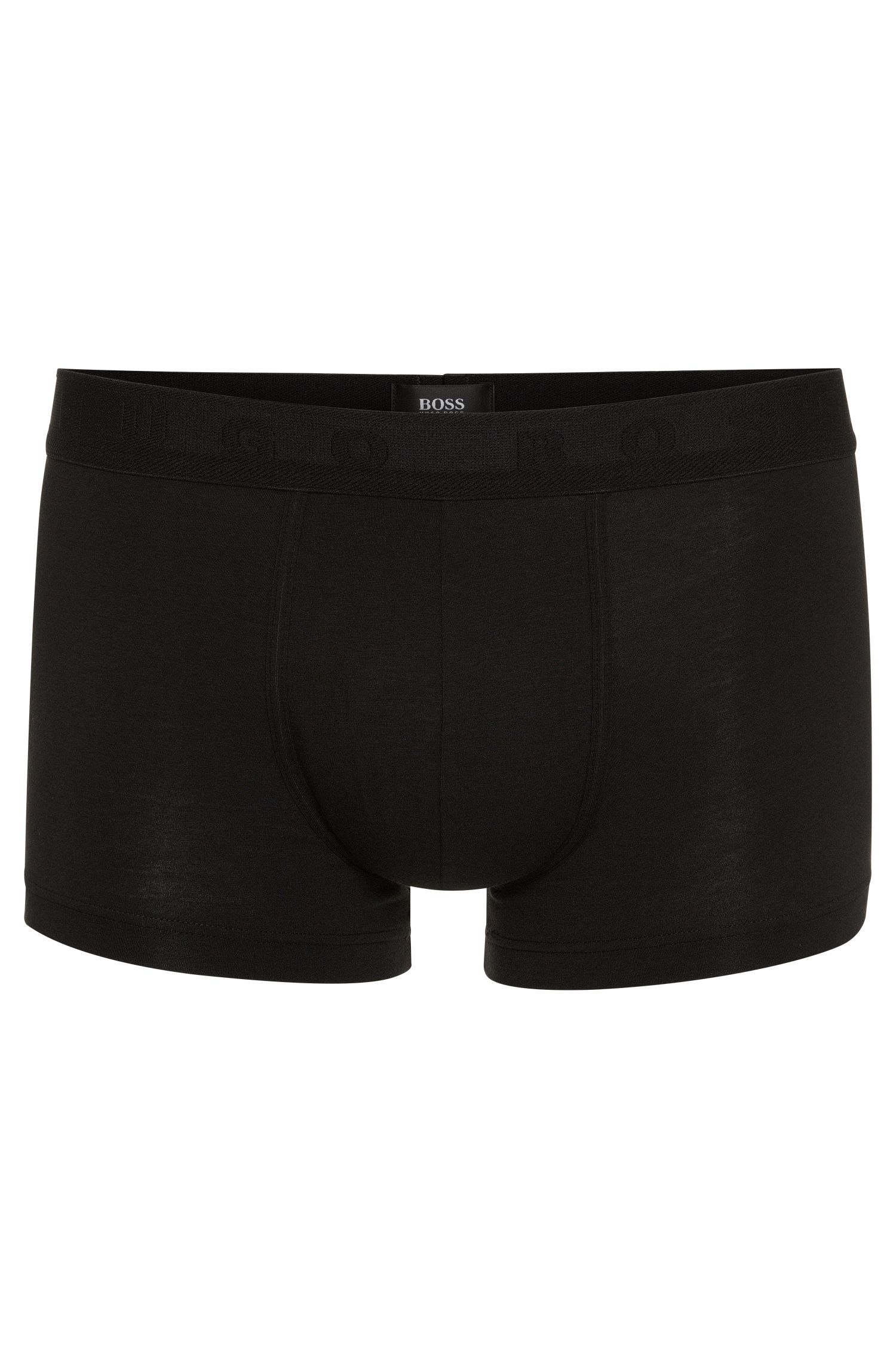 Regular-rise boxers in stretch jersey, Black