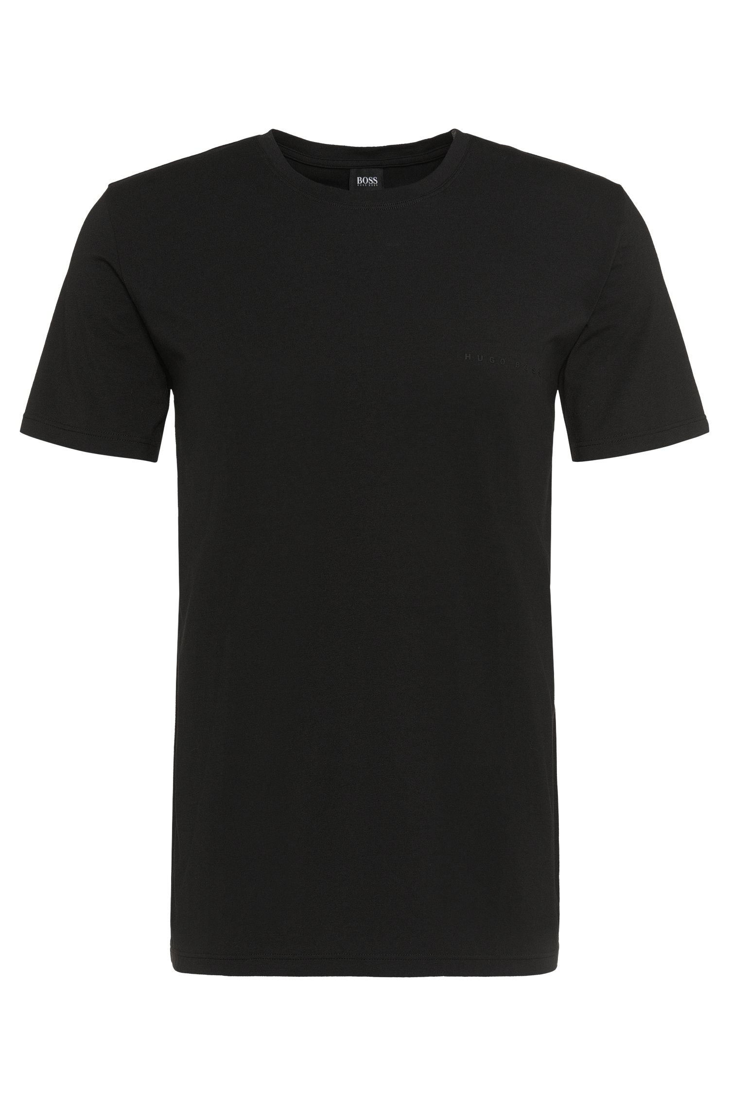 T-shirt Relaxed Fit en jersey simple stretch, Noir