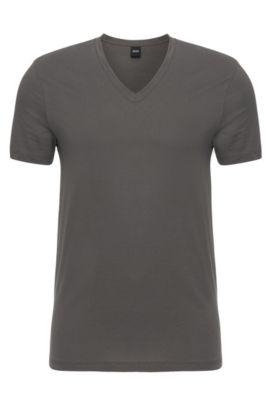 T-shirt en coton à colV: «Shirt VN BM», Gris chiné