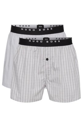 Double pack of boxer shorts in cotton poplin , Open Grey