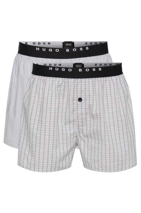 Double pack of pyjama shorts in cotton poplin , Open Grey