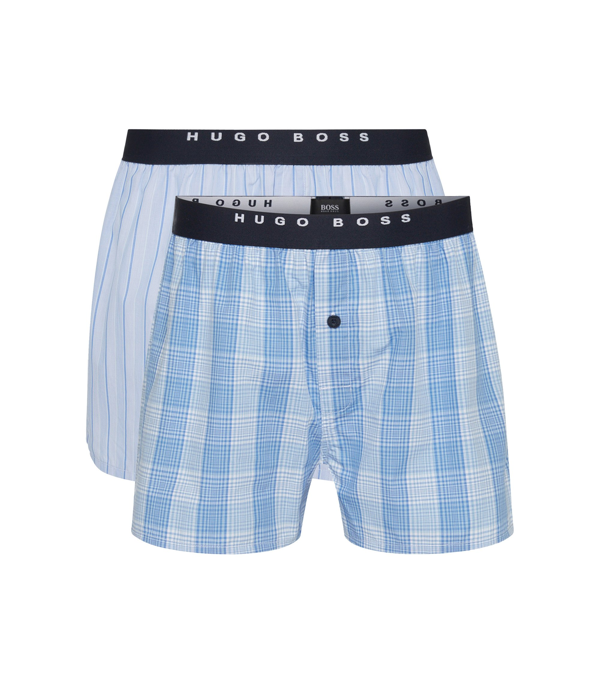 Double pack of boxer shorts in cotton poplin , Open Blue