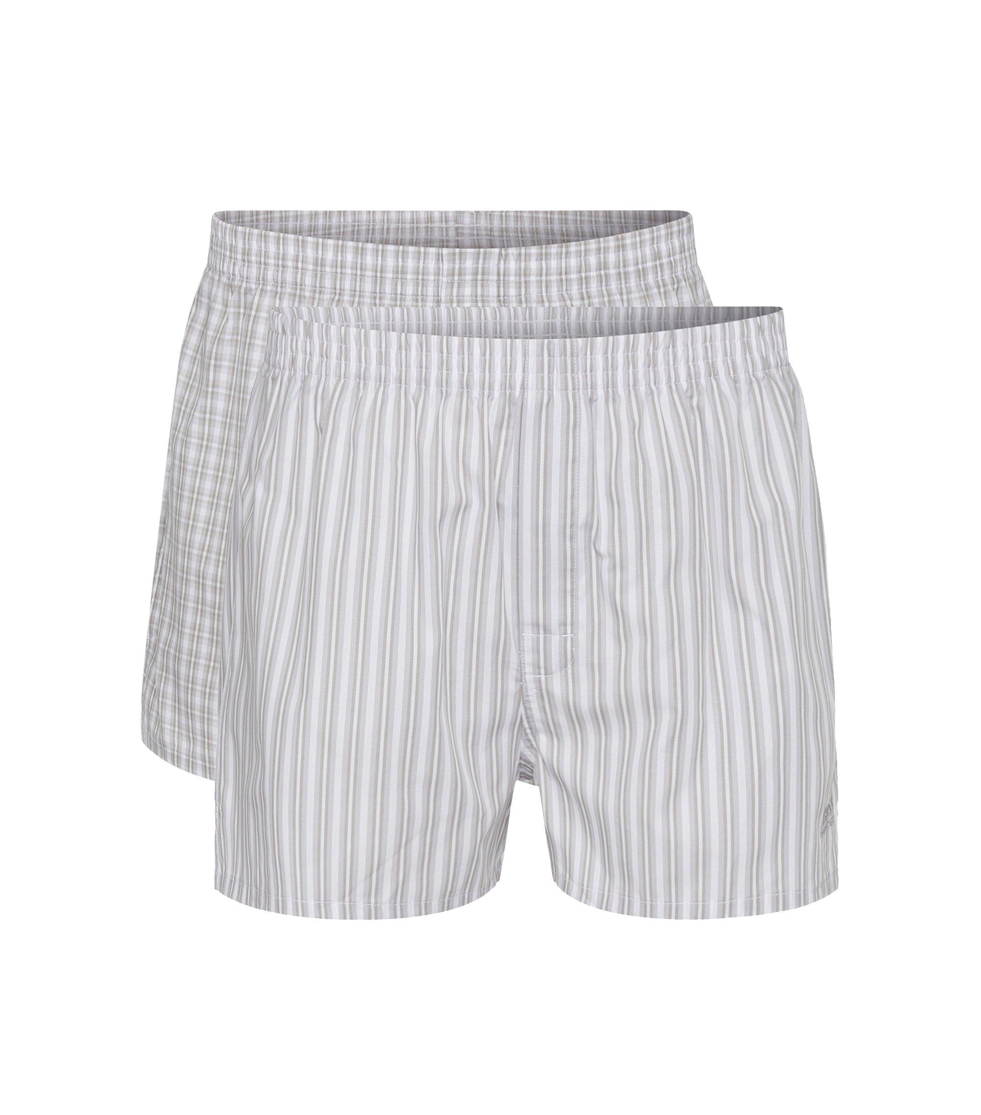 Paquete de dos calzoncillos boxer en popelín de algodón , Gris claro