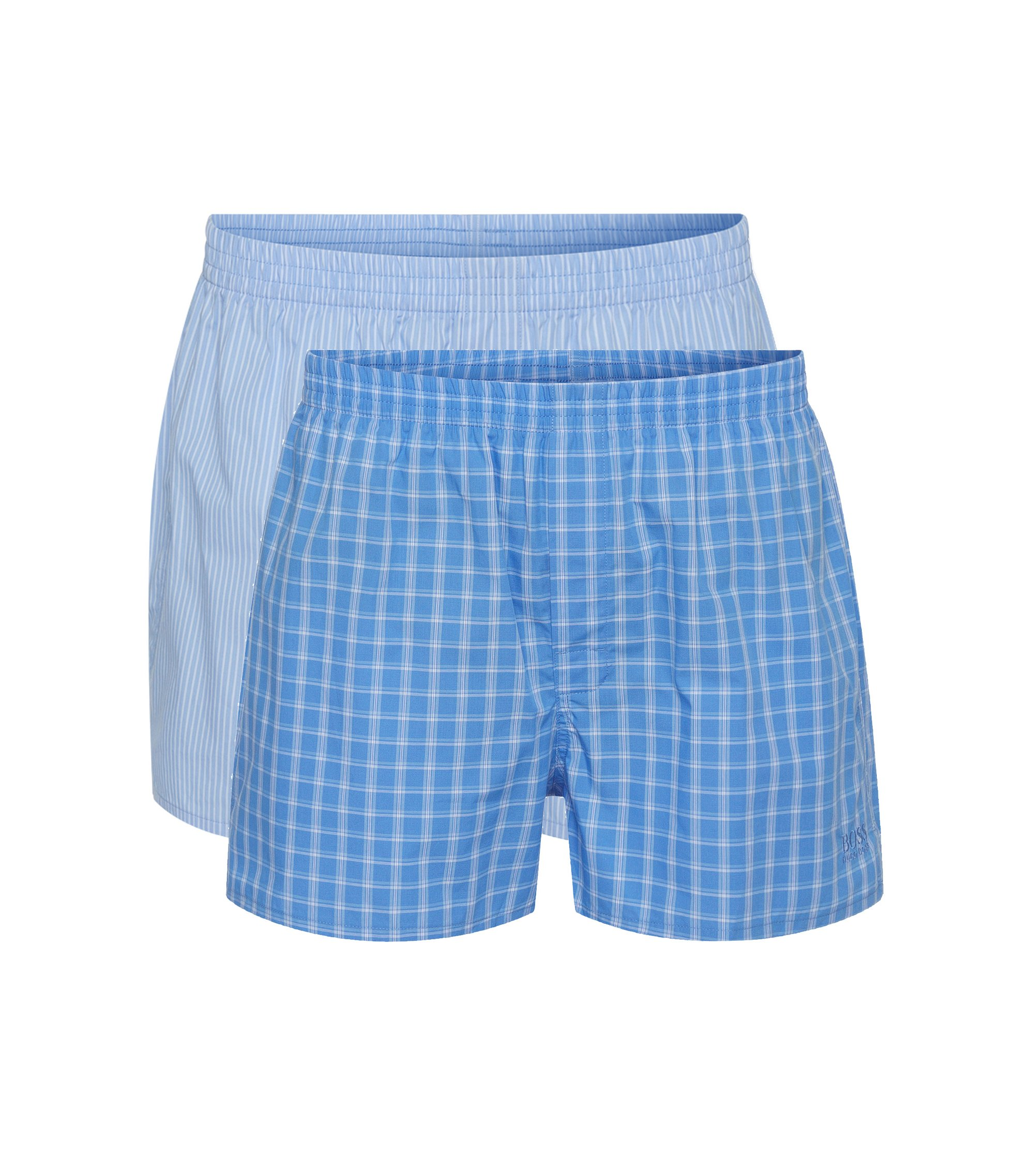 Double pack of boxers in cotton poplin , Open Blue