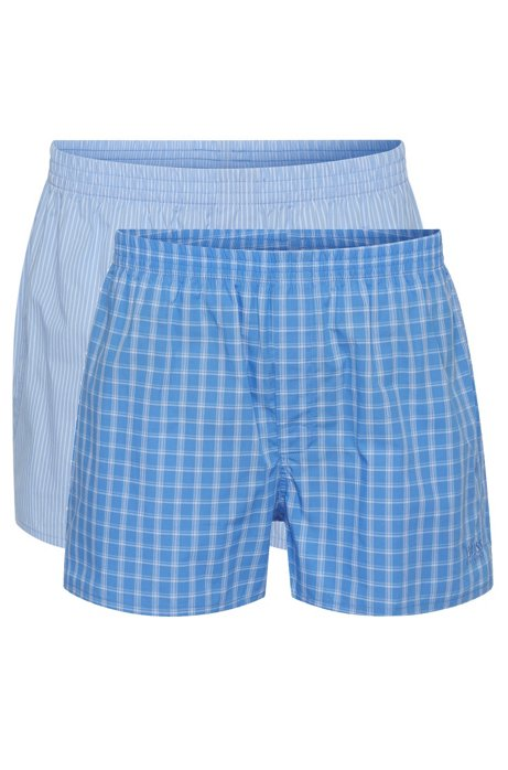 Double pack of boxers in cotton poplin , Open Blue