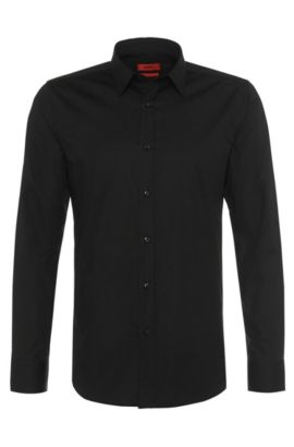 Slim-fit overhemd van een katoenmix: 'Elisha', Zwart