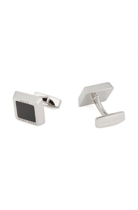 Square logo-engraved cufflinks with coloured-enamel core, Black