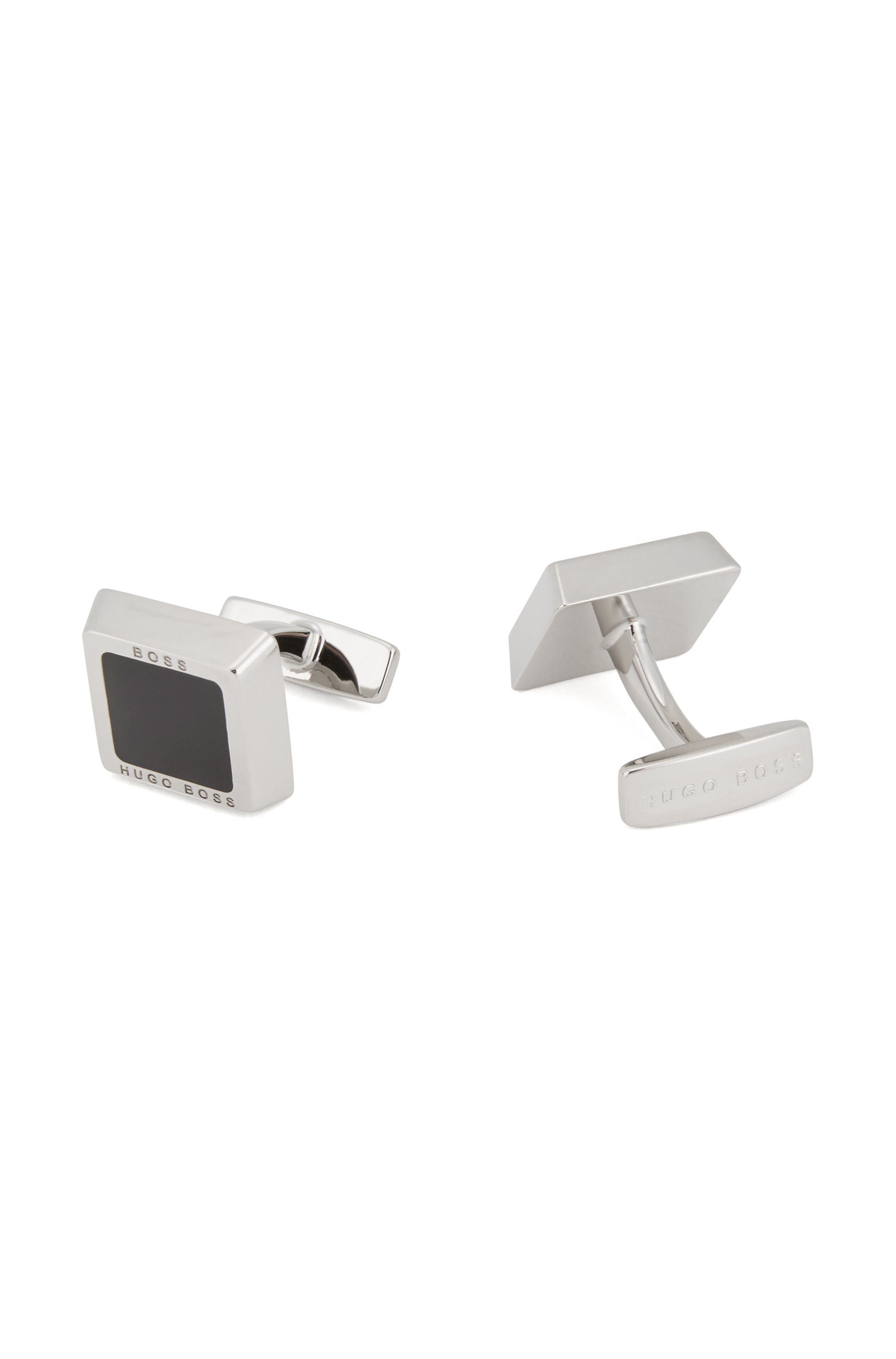 Square cufflinks with enamel insert and engraved logo, Black
